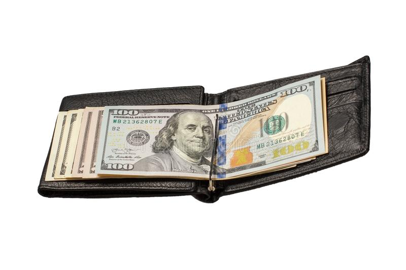 Black leather wallet with dollar bills on isolated white background stock photo