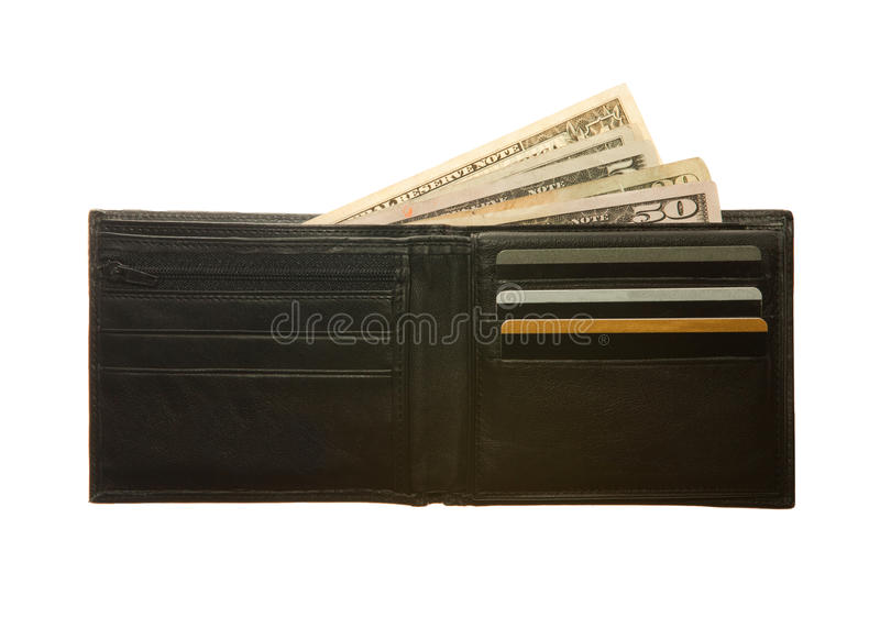 Black leather wallet. With dollar notes and credit cards stock images