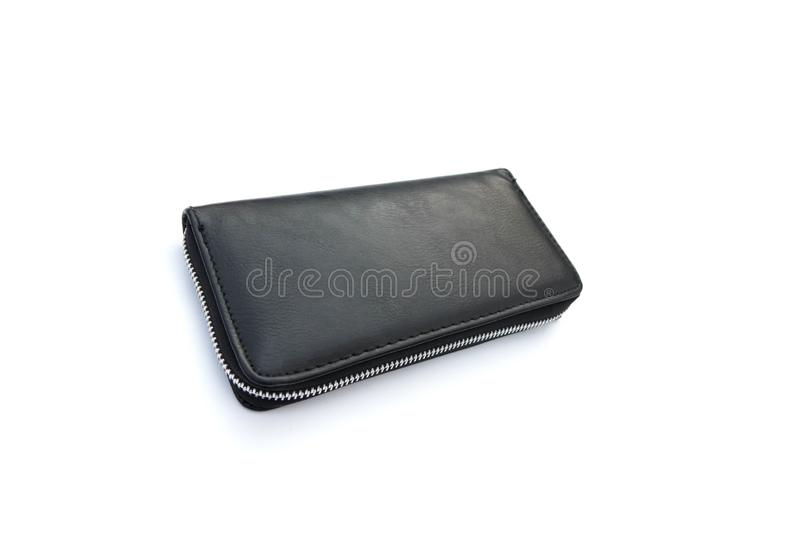 Black leather wallet with dollars isolated on white background. Lock, object, closeup, money, single, purse, business, empty, design, bulging, billfold, cash stock image