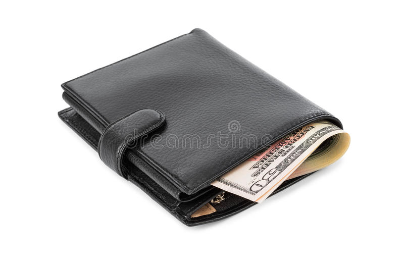 Black leather wallet. Isolated on white background royalty free stock photos