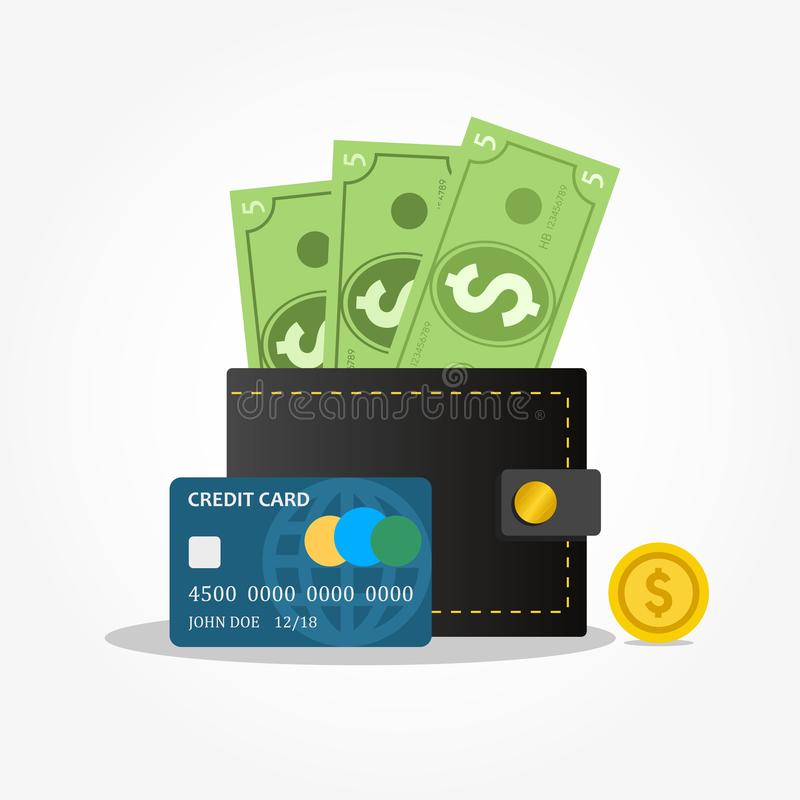 Black leather wallet with money, coins and credit card for shopping. royalty free illustration