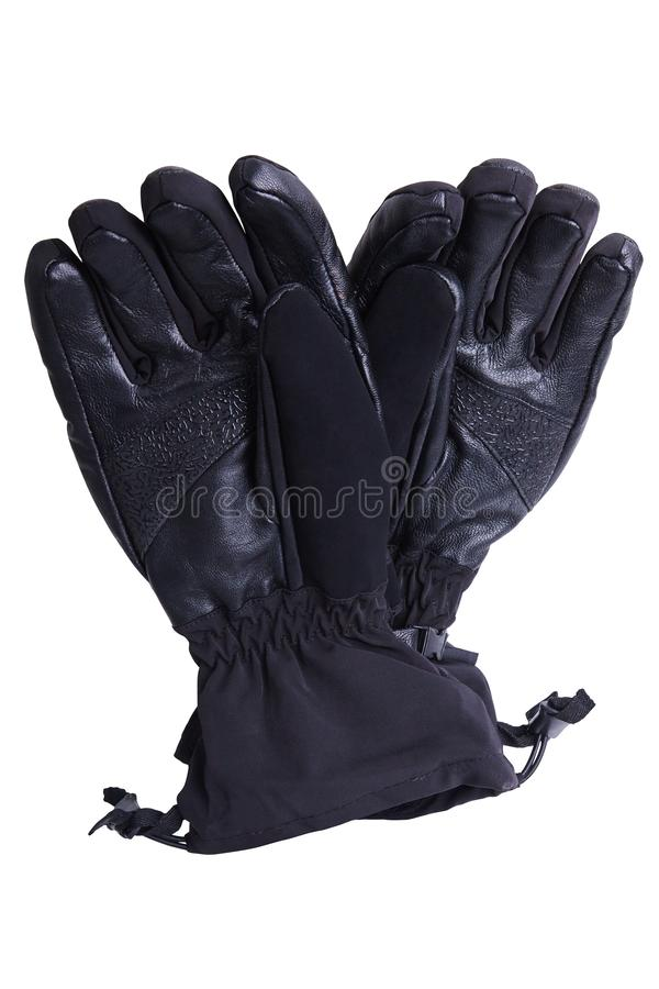 Black leather waterproof winter male gloves isolated royalty free stock photos