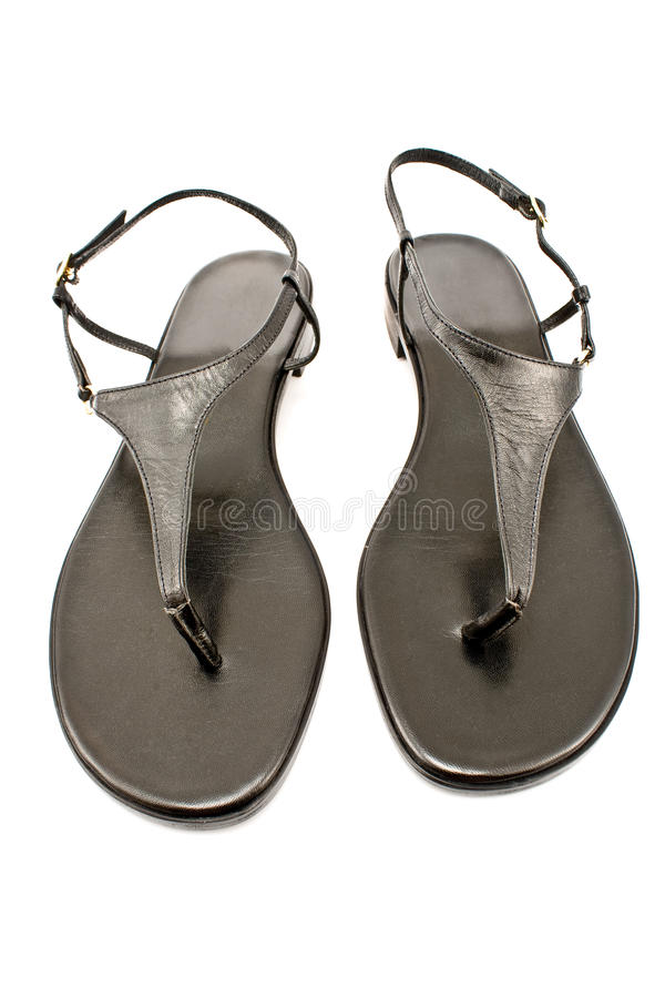 Black leather women's sandal shoe stock images