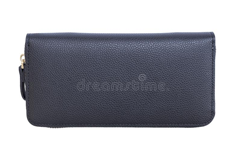 Black leather zip wallet isolated on white background stock images