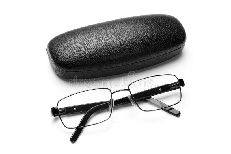 Black leatherette eyeglass case and eyeglasses in fine metal frame stock photo
