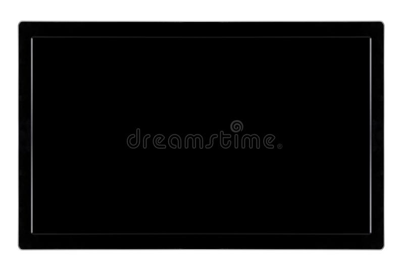 Black LED television screen mockup, blank hdtv isolated on white background stock images