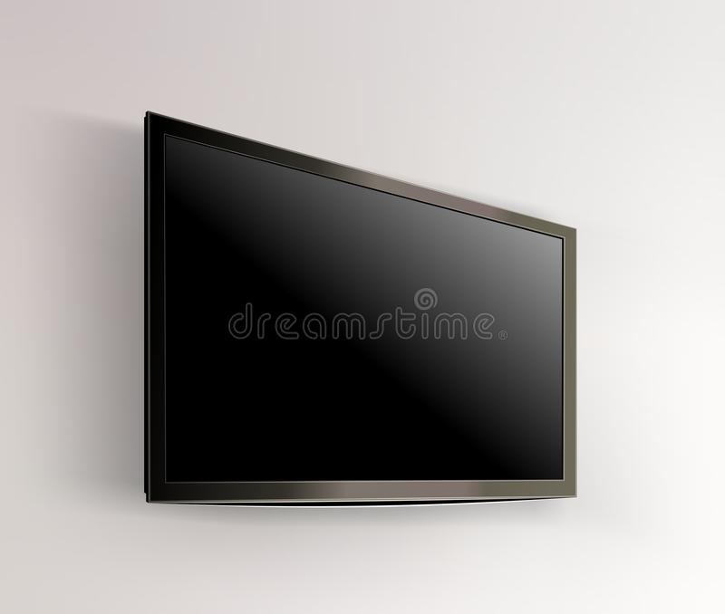 Black LED tv television screen blank on wall. Background vector illustration