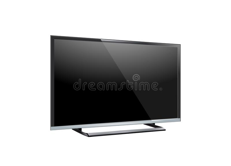 Black LED tv television screen blank on white background.  royalty free illustration