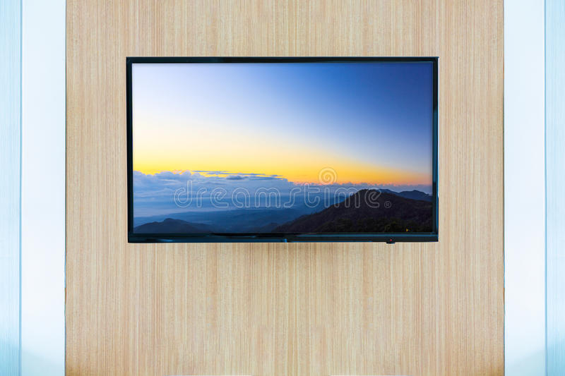 Black LED tv television screen mockup. Landscape on monitor.  royalty free stock photo