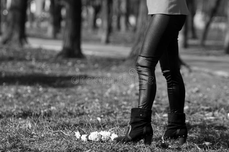 Black leggings. Girl wearing black leggings, autumn outfit stock images
