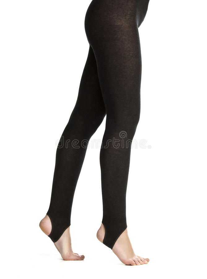 Black leggins. Shot in the studio in front of white background royalty free stock photos