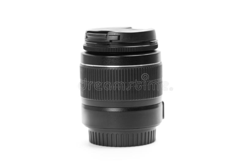 Black lens for SLR camera. Close up. Isolated on white background.  stock photography