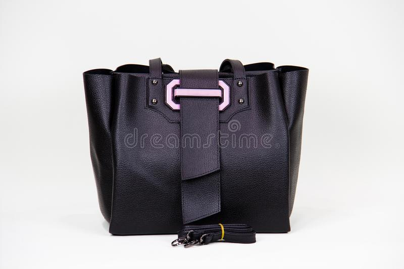 Fashionable women bag. Black lether fashionable women bag royalty free stock image