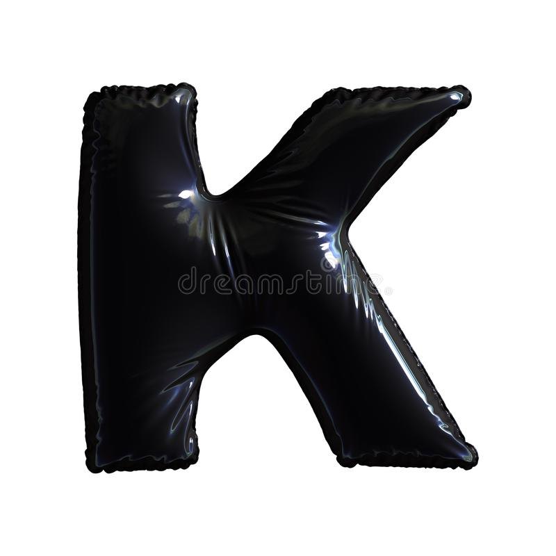 Black letter K made of inflatable balloon isolated on white background royalty free illustration