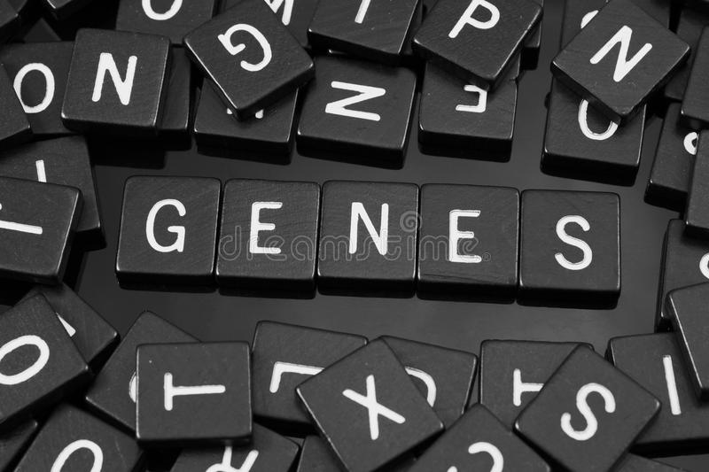 Black letter tiles spelling the word & x22;genes& x22;. On a reflective background stock photo