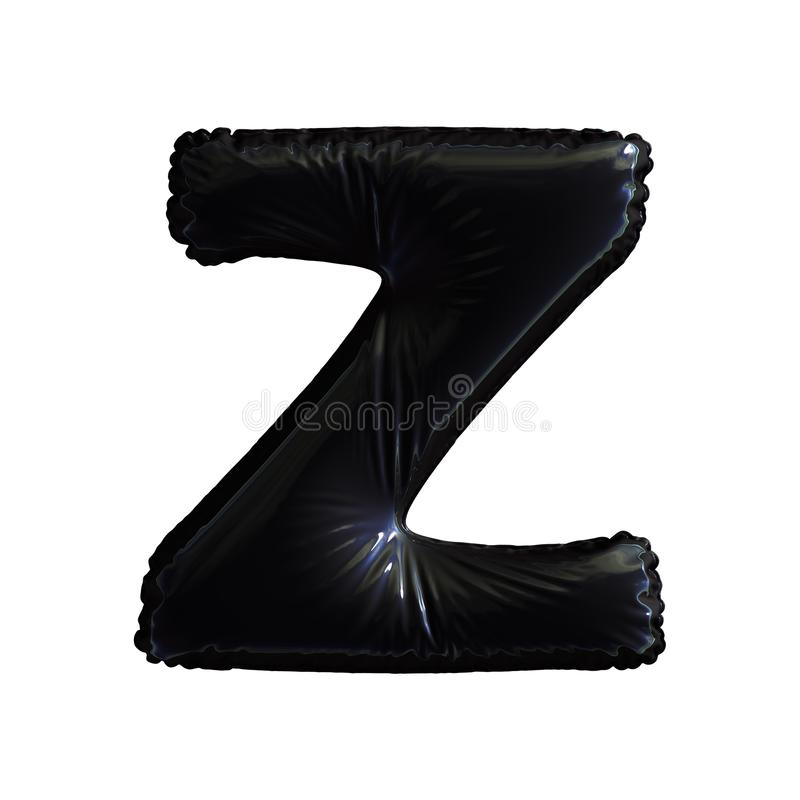 Black letter Z made of inflatable balloon isolated on white background stock illustration