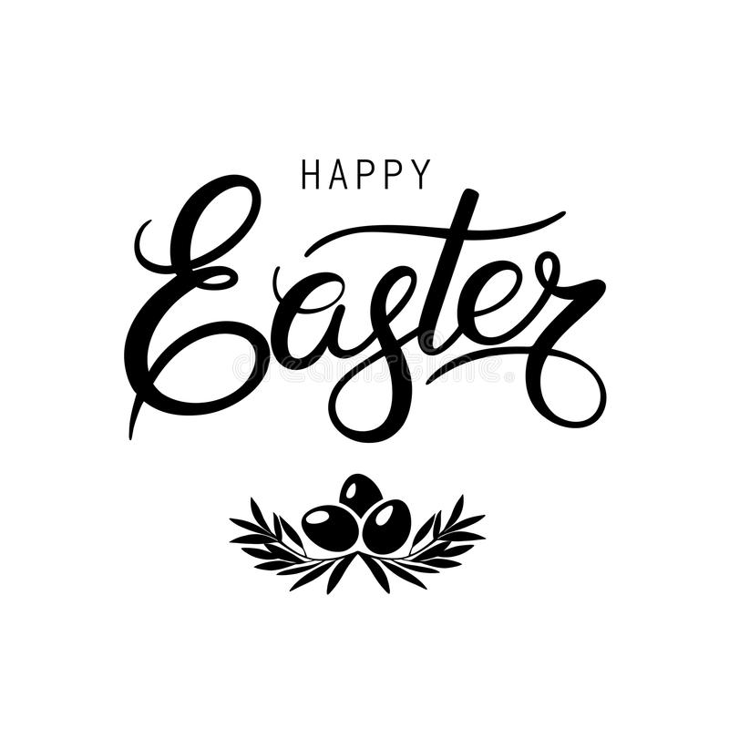 Download Black Lettering Happy Easter Calligraphy Stock Vector