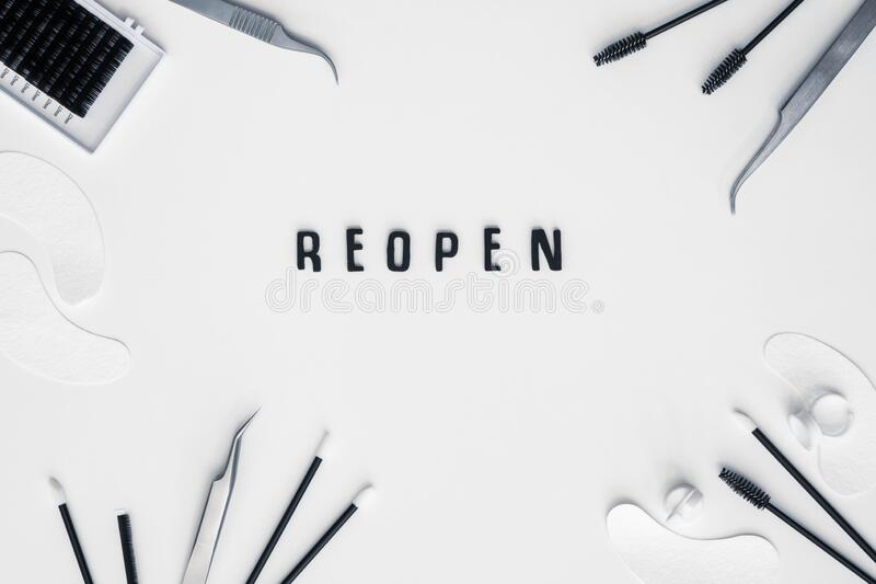 Black letters spell out REOPEN on white background royalty free stock photo