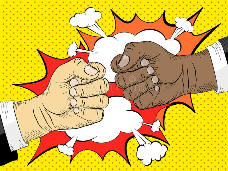 Black life matters, the concept of the struggle for equal. Rights. Two hands in bumping together, fighting gesture, vector illustration stock illustration