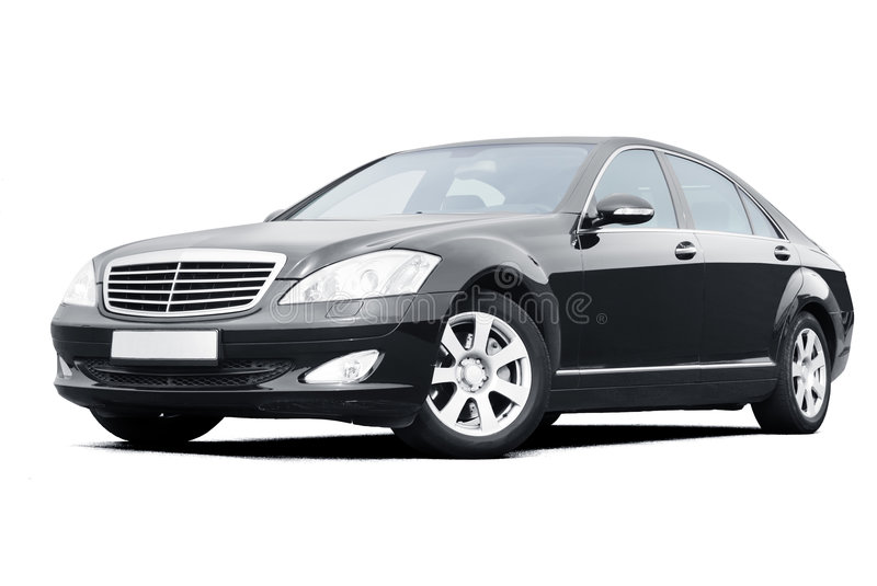 Black limousine. Car on white royalty free stock photos