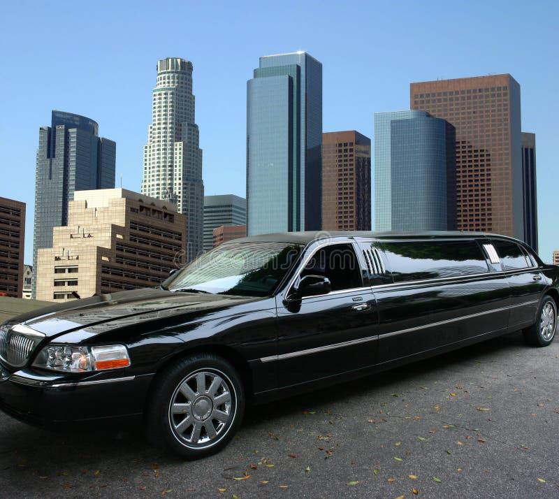 Black limousine in Los Angeles stock photos