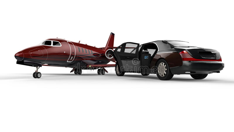 Black limousine with a private jet royalty free illustration