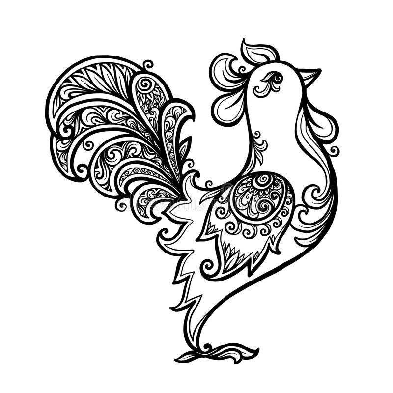 Black Line Art Hand Drawn Vector Rooster For Coloring Book ...