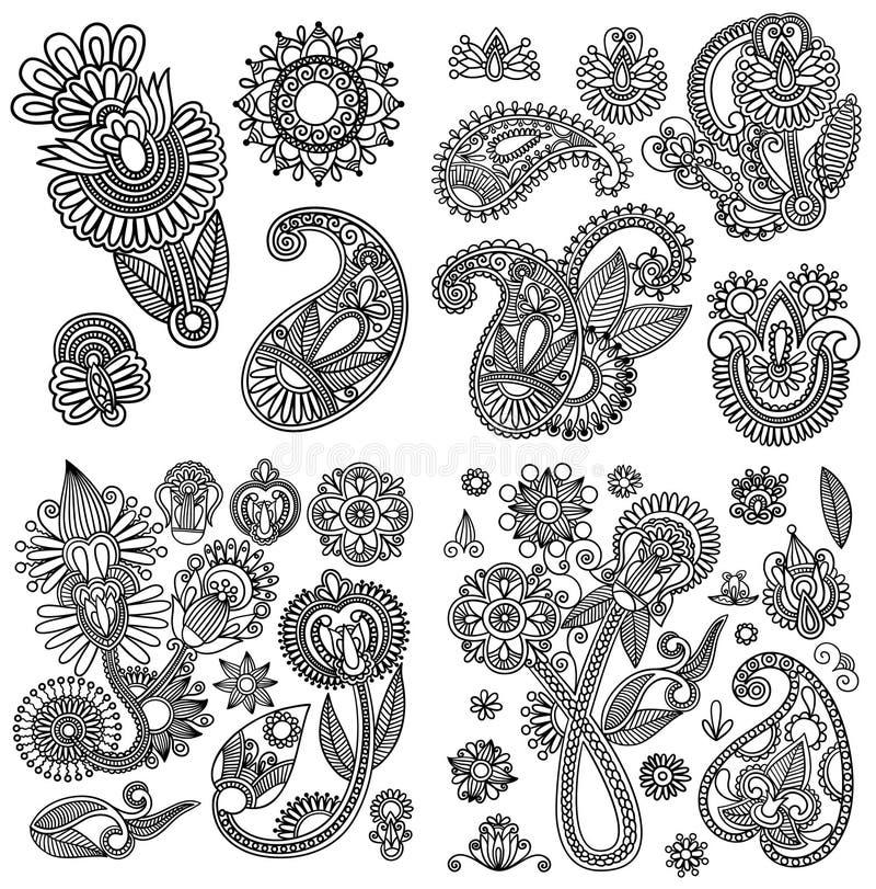Black line art ornate flower design collection,. Ukrainian ethnic style stock illustration