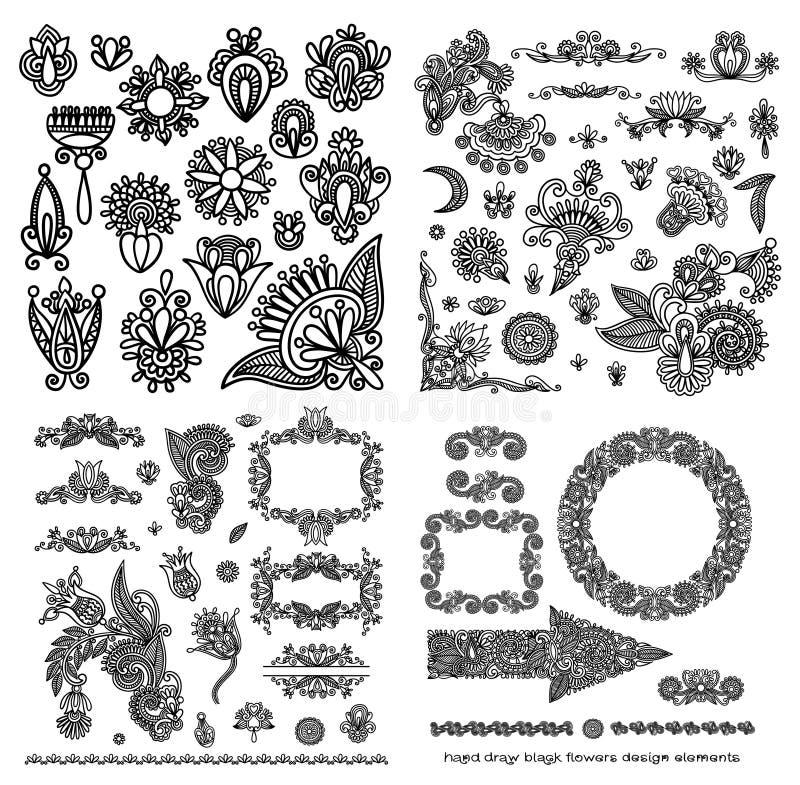 Black line art ornate flower design collection. Ukrainian ethnic style stock illustration