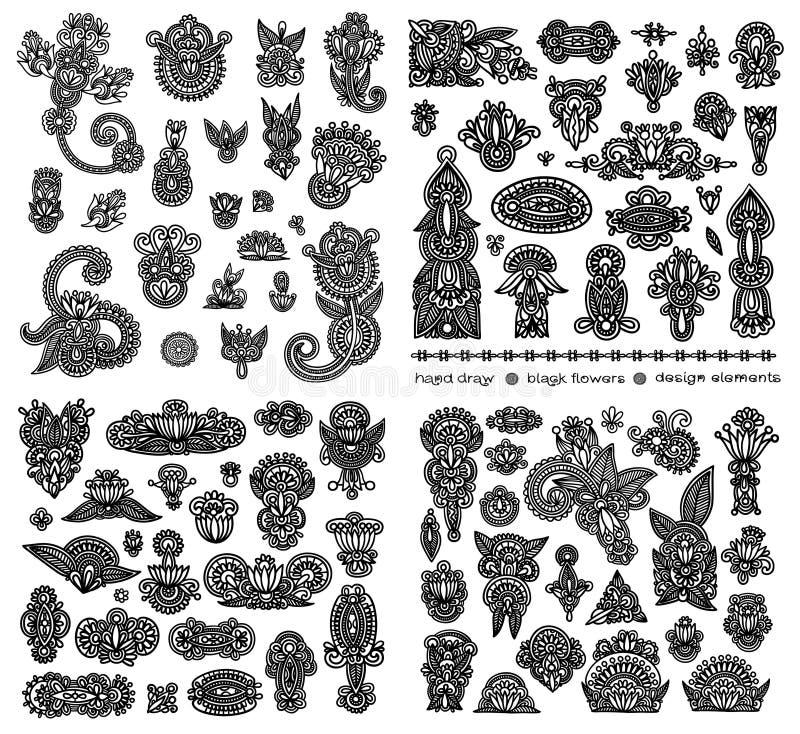Black line art ornate flower design collection,. Ukrainian ethnic style royalty free illustration