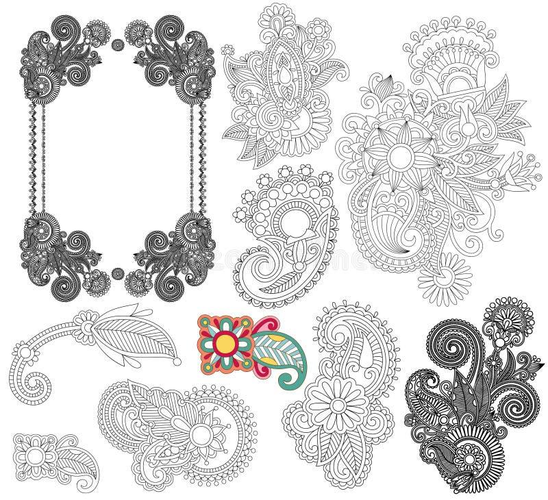 Black line art ornate flower design collection,. Ukrainian ethnic style vector illustration
