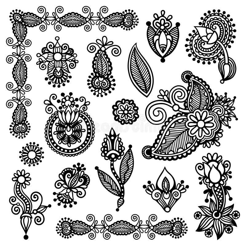 Black line art ornate flower design collection. Ukrainian ethnic style, autotrace of digital drawing vector illustration