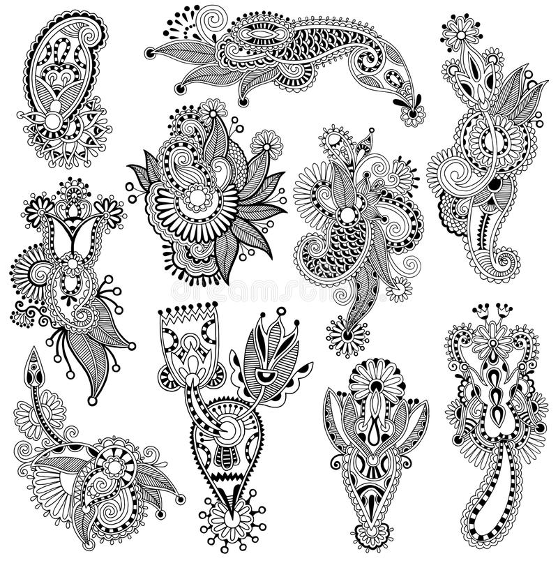 Black line art ornate flower design collection,. Ukrainian ethnic style, autotrace of hand drawing royalty free illustration