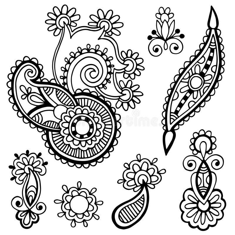 Black line art ornate flower design collection,. Ukrainian ethnic style, autotrace of hand drawing stock illustration