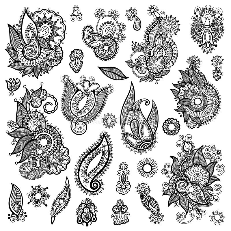 Black line art ornate flower design collection. Ukrainian ethnic style, autotrace of hand drawing stock illustration