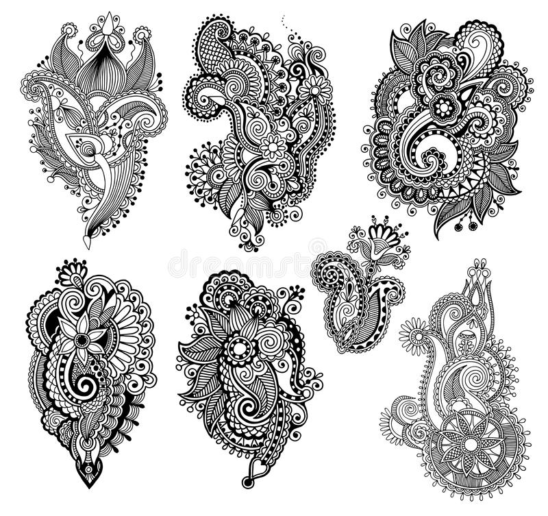 Black line art ornate flower design collection,. Ukrainian ethnic style, hand drawing, vector illustration vector illustration