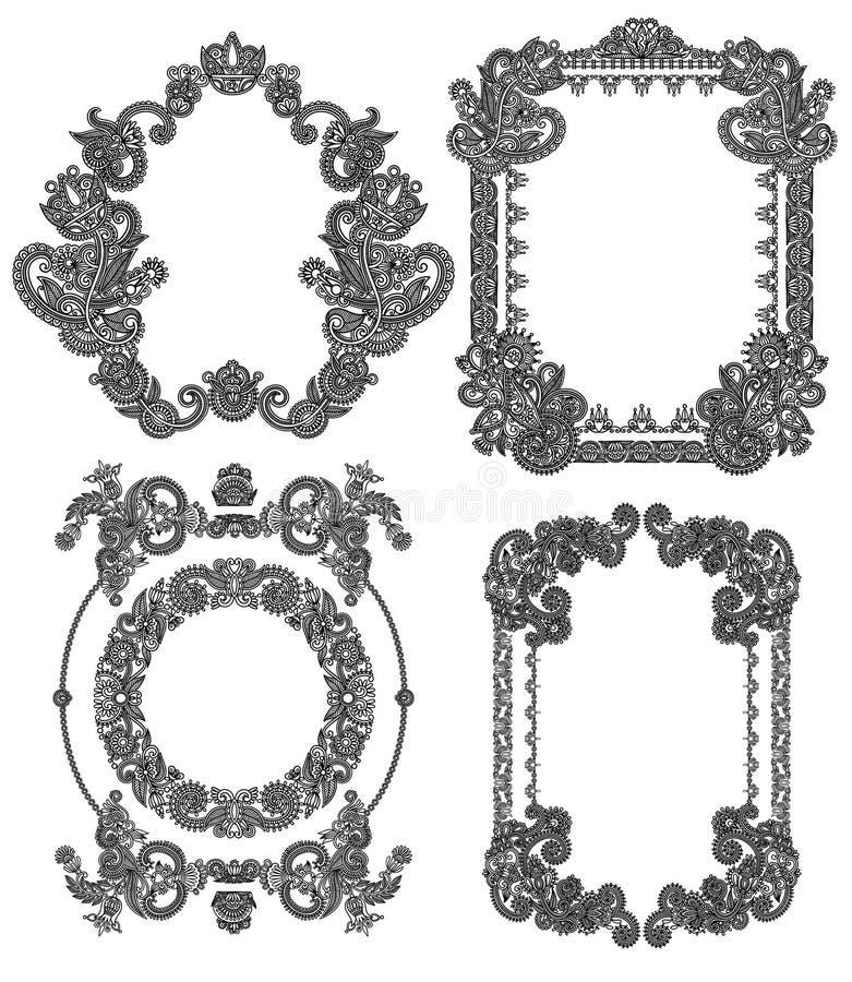 Black line art ornate flower design frame. Black line art ornate flower design vintage frame collection, ukrainian ethnic style royalty free illustration