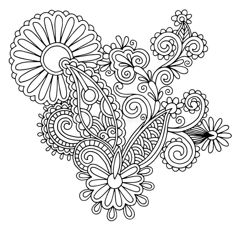 Black line art ornate flower design, ukrainian. Ethnic style, autotrace of hand drawing royalty free illustration