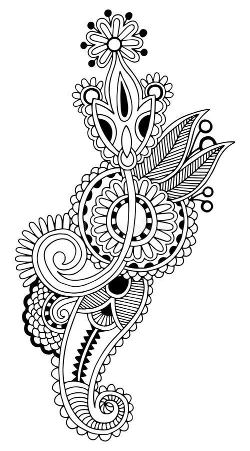 Black line art ornate flower design, ukrainian. Ethnic style, autotrace of hand drawing stock illustration