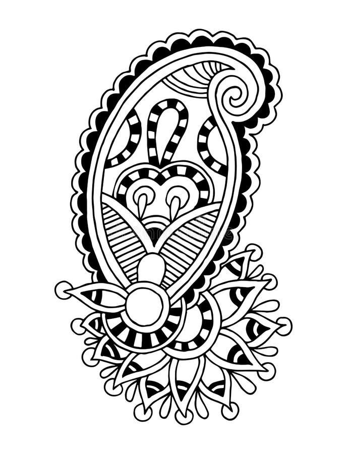 Black line art ornate flower design, ukrainian. Ethnic style, autotrace of hand drawing vector illustration