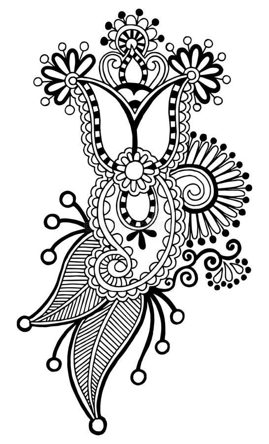 Black line art ornate flower design, ukrainian. Ethnic style, autotrace of hand drawing royalty free illustration