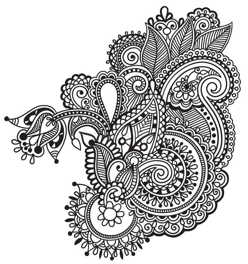 Black line art ornate flower design, ukrainian. Ethnic style, hand drawing, vector illustration stock illustration