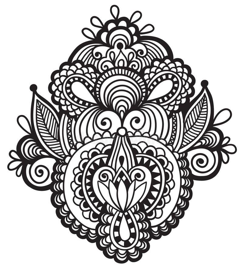 Black line art ornate flower design, ukrainian. Ethnic style, hand drawing, vector illustration vector illustration