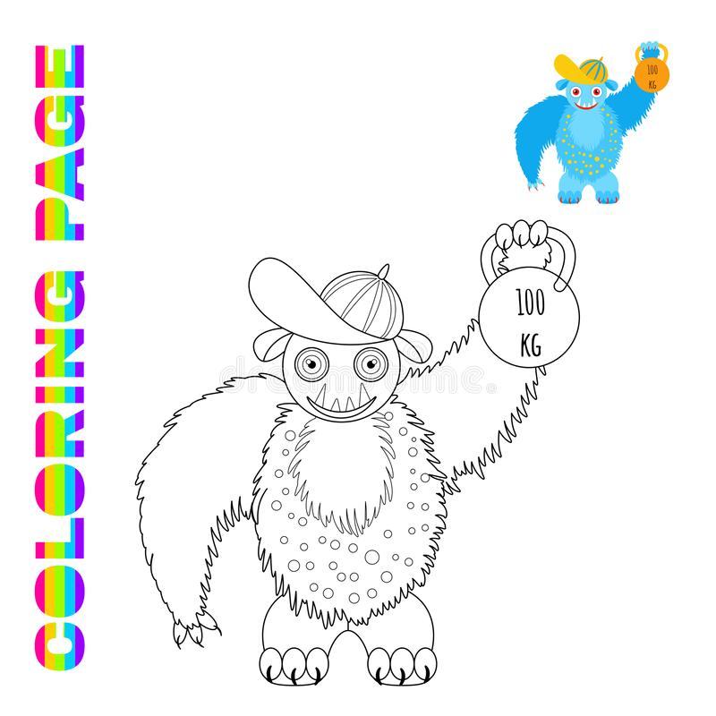 Black line and color version of cartoon fluffy blue monster in a cap holds a weight stock illustration