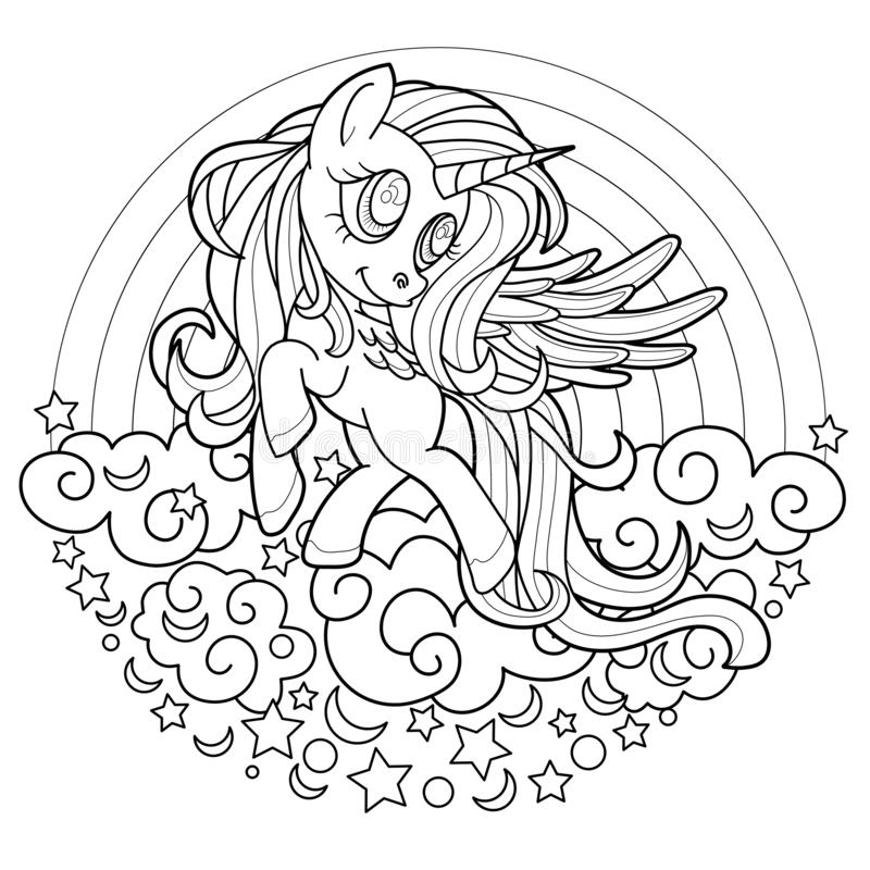 Beautiful Princess And Unicorn Coloring Page Stock Vector ...