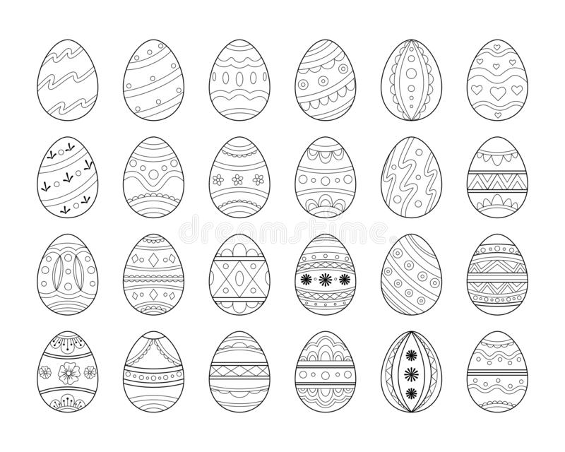 Black line Easter egg set. Decorative ornate eggs collection. royalty free illustration