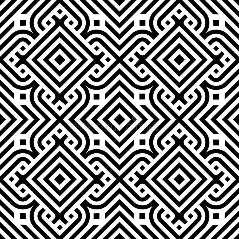 Black line geometric diamond abstract seamless pattern vector background royalty free illustration