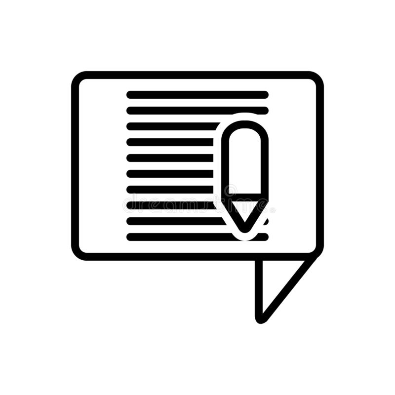 Black line icon for Blog article, document and writing. Black line icon for Blog article, writing, application and document stock illustration