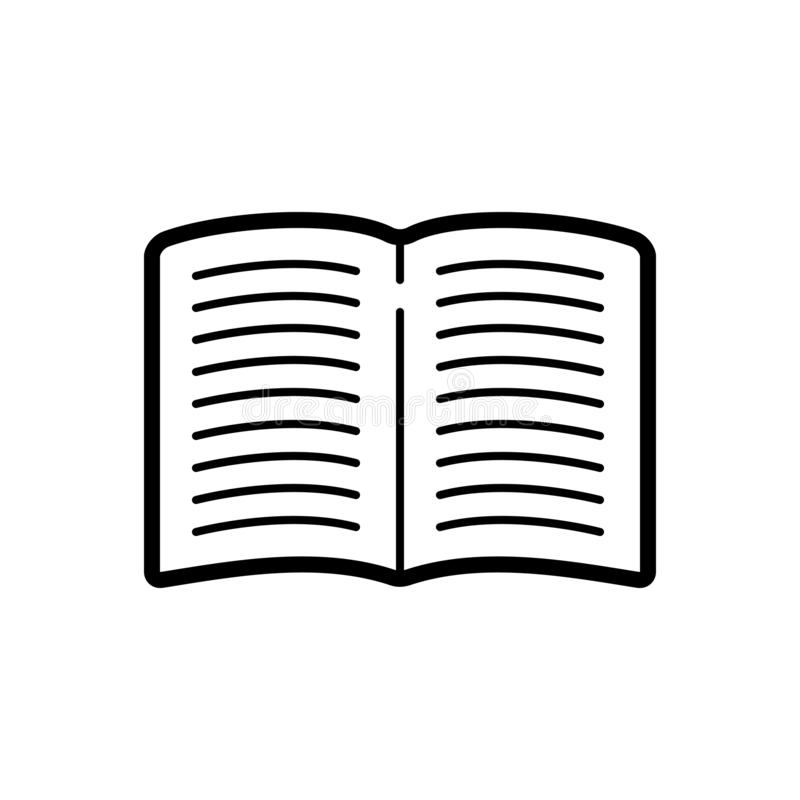 Black line icon for Book, textbook and open vector illustration