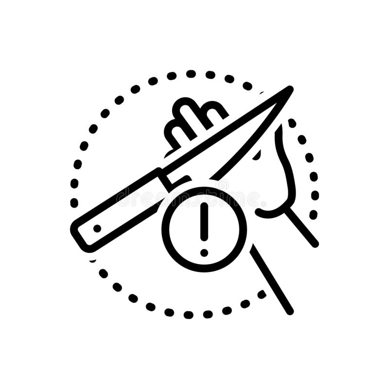 Black line icon for Carefulness, cautious and knife. Black line icon for carefulness, careless, negligent, alert, warning, admonition,  cautious and knife stock illustration